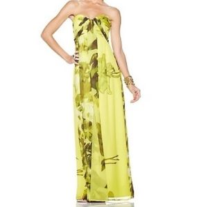 Jessica Simpson Lime Floral Strapless Maxi Dress